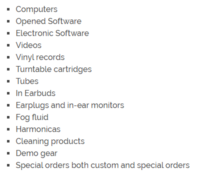 Guitar Center Non Returnable Items