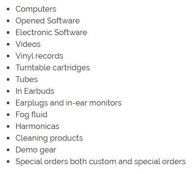 Guitar Center Non Returnable Items