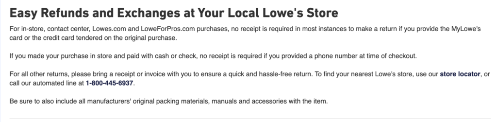 Lowes Return Policy Exceptions