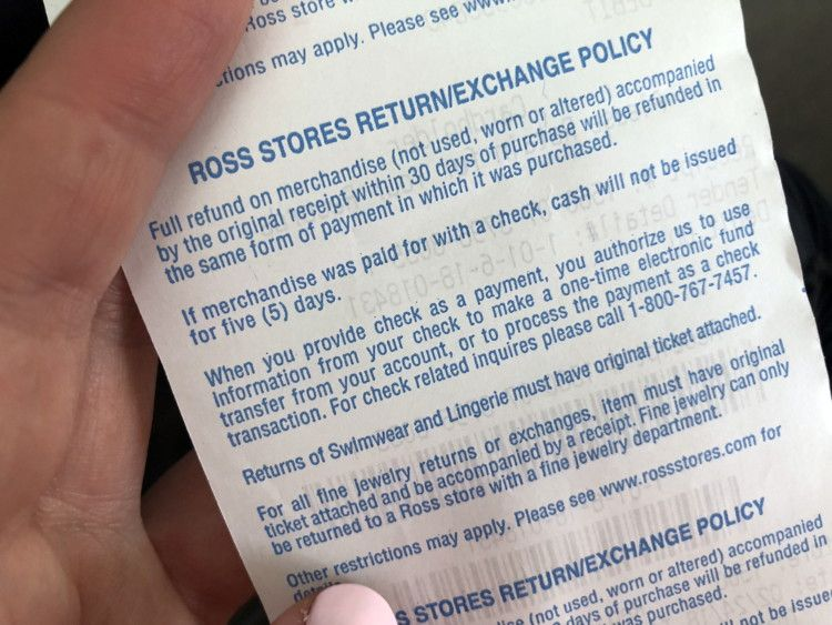ross return policy without reciept
